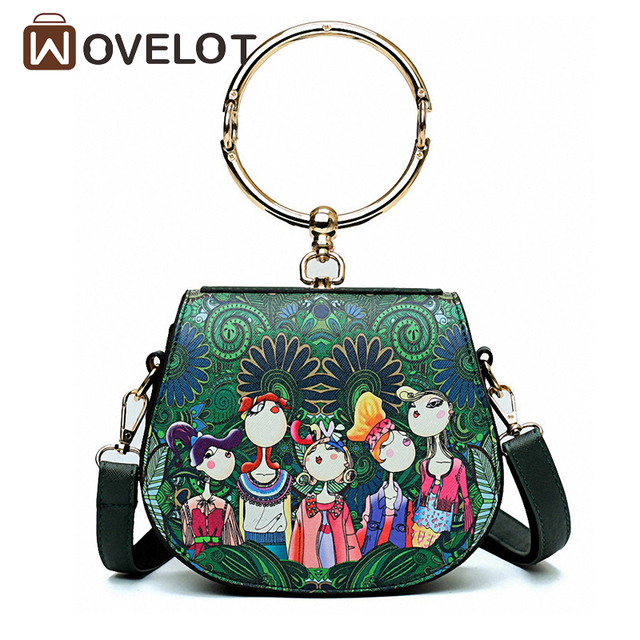 c77e749991d1 US $13.1 28% OFF|Woman PU Leather Handbag Green Forest Printing Bag Fashion  Trend Cute Shoulder Bags Mini Round Girls tote bag-in Top-Handle Bags from  ...