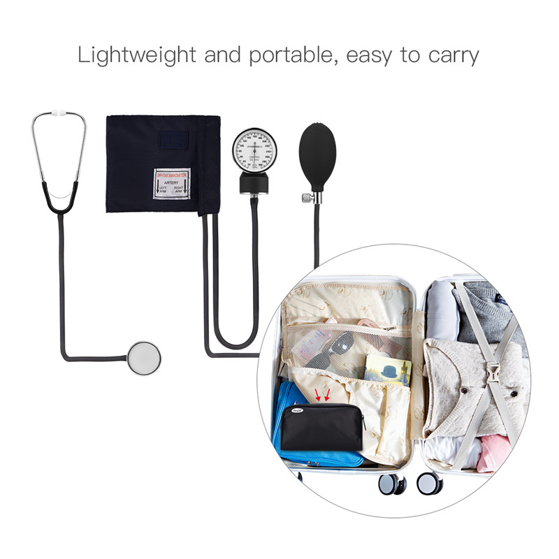 2019 New Style Medical Equipment Doctor Cardiology Blood Pressure Monitor Meter Tonometer Cuff Arm Stethoscope Kit Travel Sphygmomanometer Attractive Designs; Beauty & Health