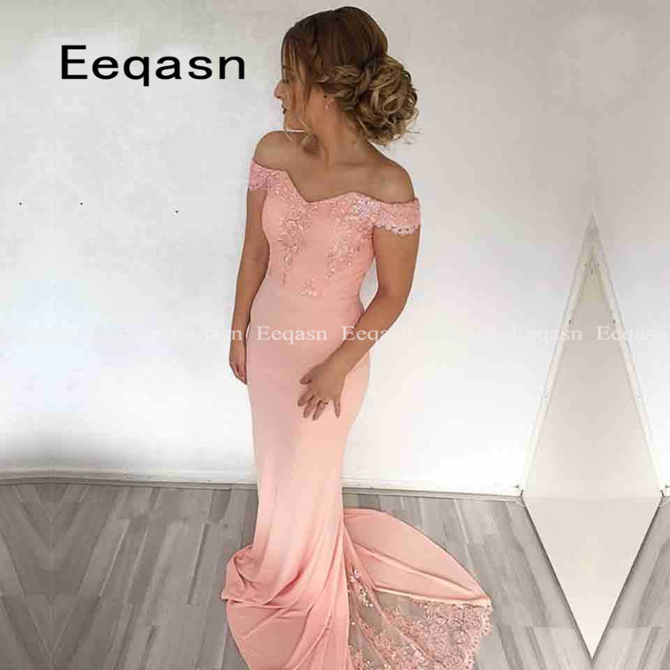 Fashion 2020 Blush Pink Spandex Mermaid Bridesmaid Dresses Off The Shoulder Custom Maid Of Honor Dresses For Wedding Party