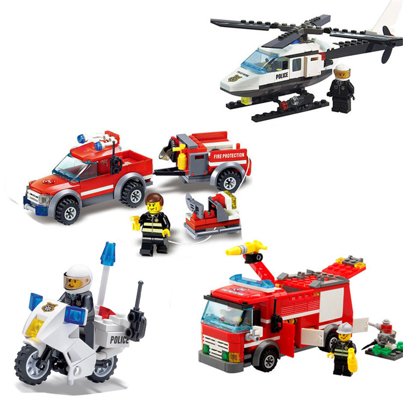 Children Toys City Police Helicopter Fire Airplane Building Blocks Compatible Legoinglys Bricks Educational Toys