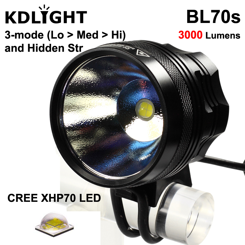 KDLITKER BL70s Cree XHP70 2 White   Neutral White   Warm White 3000 Lumens 4-Mode LED Bike Light - Black  1 pc