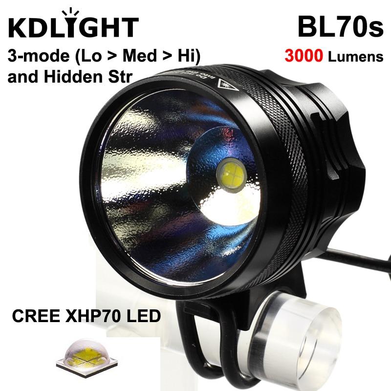 KDLITKER BL70s Cree XHP70.2 White / Neutral White / Warm White 3000 Lumens 4-Mode LED Bike Light - Black (1 Pc)