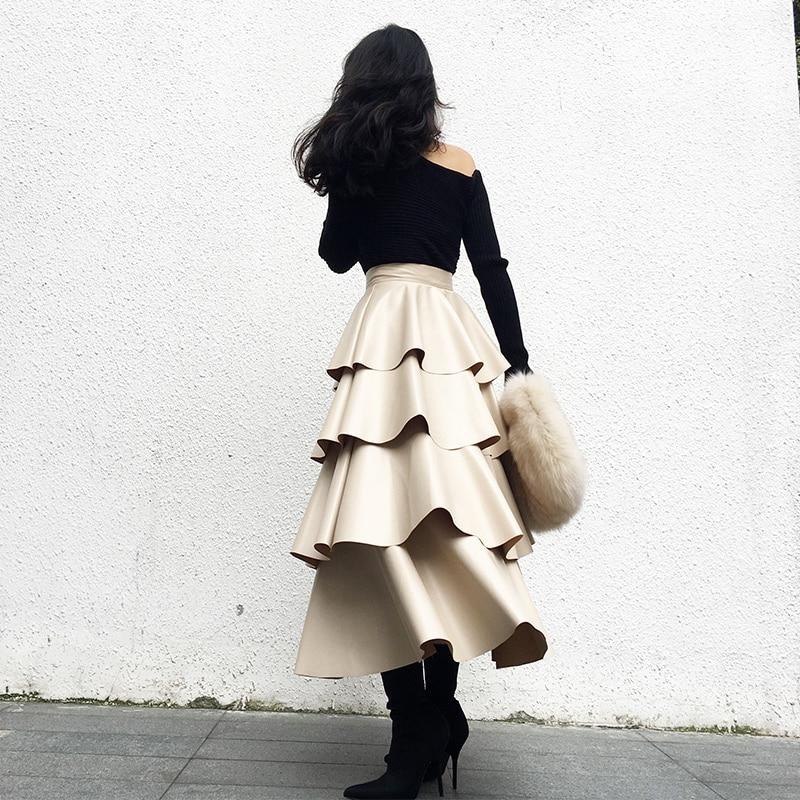 Falda Altura Media Mujer Primavera Color Nuevas Mujeres La Volantes Beige De Cintura Cuero Pastel Capa Las Top caqui Lolita 2019 Pu gtZUaa