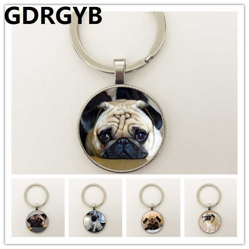 GDRGYB 2019 Wholesale Glass Dome Round Key buckle Animals Jewelry Pug Key buckle Dog Picture Key buckle The Best Gift for Dog