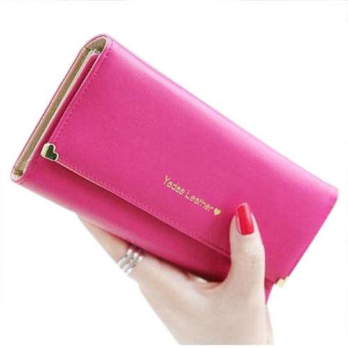 TEXU Women's Soft PU Leather Clutch Wallet Long Card Mini Purse Holder Rose Red auau soft leather women wallets bowknot clutch bag long pu card purse wallet for womens rose red