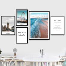 купить London City Landscape Canvas Paintings Modern Poster Print Typography Nordic Wall Art Pictures for Living Room Home Office Decor в интернет-магазине