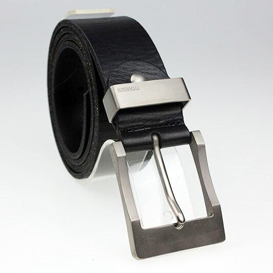 Nouvelle Arrivée largeur 3.8 cm 100% ceinture en cuir véritable mâle vachette ceinture pour hommes avec titane alliage boucle ardillon seulement un gauche
