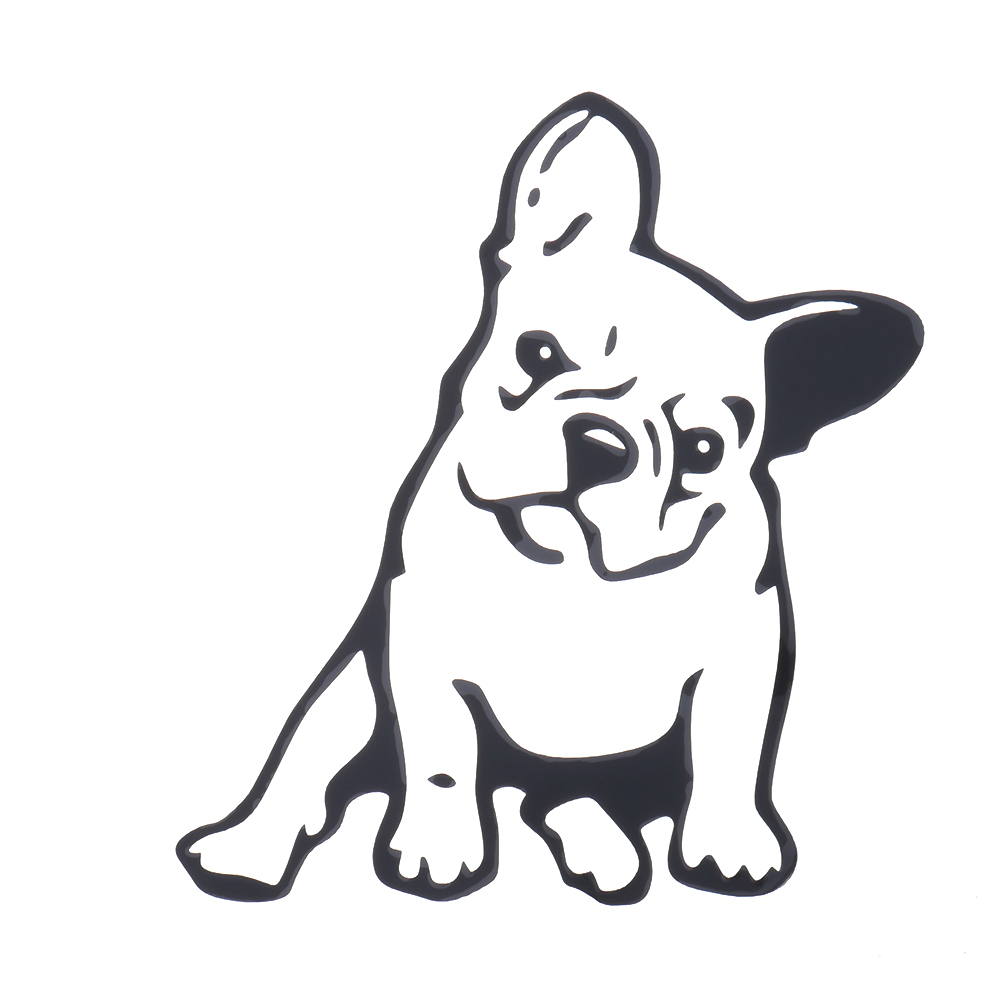 SEKINNEW 1Pc Cute Hollow French Bulldog Car Sticker Decals Pet Dog Motorcycle Decor Stickers Car Window Rearview Mirror Decals