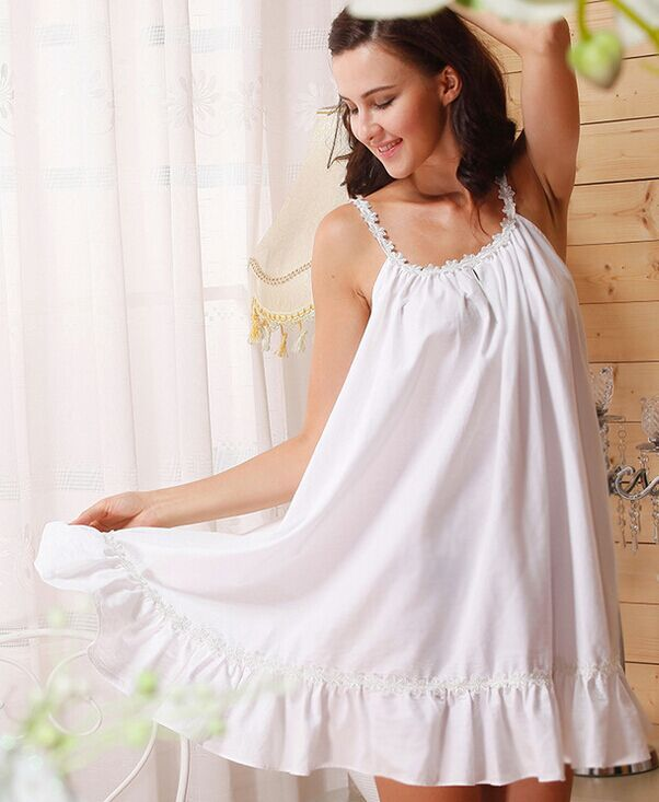 d95b5c3719 European and American style women nightgowns wellmade new designed lace  sunflowers cotton white color sleep dress for ladies-in Nightgowns    Sleepshirts ...