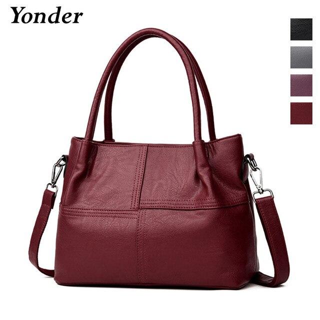 Yonder genuine leather bags for women 2018 luxury handbags women bags  Sheepskin leather handbag ladies shoulder messenger bags 0efa42b0ccad2