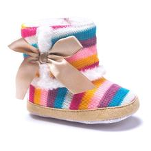 Baby Boots 2017 Fashion Baby Girl Rainbow Soft Sole Snow Boots Soft Crib Shoes Toddler Boots