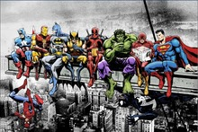 Lunch atop Skyscraper Justice League Superhero Anime Art Poster silk fabric 20x30Print Wall Decor