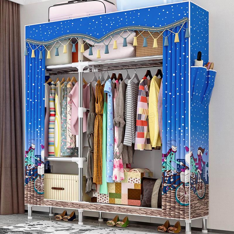 Beautiful Wardrobe 25MM Tube Reinforcement Assemble Cloth Wardrobe Bedroom Peach Skin Velvet Dust proof font b