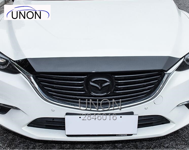 Fit For Mazda 6 Atenza 2017 Front Cover strip Around Hood Trim Automotive exterior article chrome front hood grill cover trim for 2014 2015 mazda 6 atenza