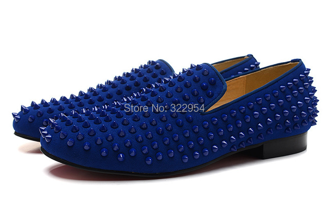 f731c6ae759 Blue suede leather men dress shoes red bottom spikes cheap men flats ...