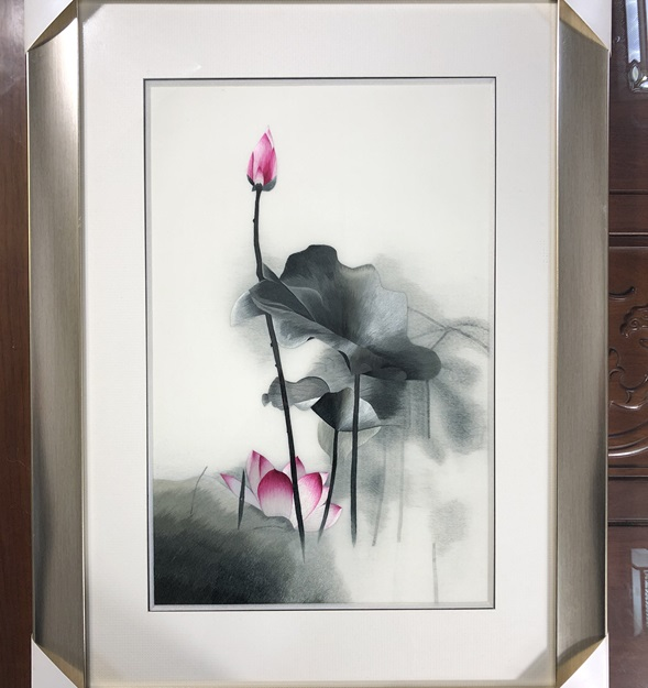 Handmade 100 Mulberry Silk Finished Suzhou Embroidery Ink painting picture lotus 40 60cm