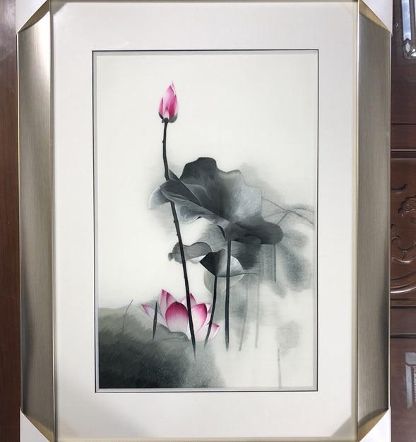 Ręcznie robione 100% morwy jedwabiu gotowy Suzhou haft malowidło tuszowe obraz lotosu 40*60cm w Haft od Dom i ogród na  Grupa 1