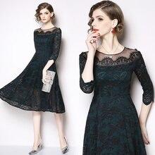 Women's new high-end openwork lace stitching dress fashion temperament slim slimming elegant party dress openwork lace midi dress