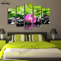 5 Panel Butterfly Orchid Pink Flower Painting Stone Bamboo Painting for Bedroom Wall Art Canvas Prints Pictures Unframed