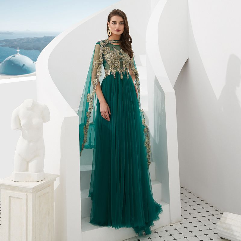 Green Arabic A-line Evening Dresses long 2018 Robe De Soiree with long train cloak Formal Gown Women Party Prom Dress Real Photo