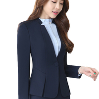 Spring Autumn Two pieces Suits Ladies Formal Skirt Suit Office Uniform Style Female Business Suit For Work Blue Women Blazer Set