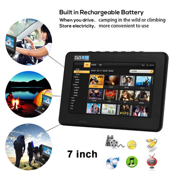 Cewaal Universal Portable Rechargeable 16:9 TV TFT LED Car Digital Mini 7inch 800 * 480 Television Outdoor US