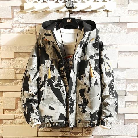 Spring New Camo Jacket Men Fashion Casual Hooded Jacket Man Streetwear Hip Hop Loose Bomber Jacket Coat Male Clothes M-3XL Pakistan