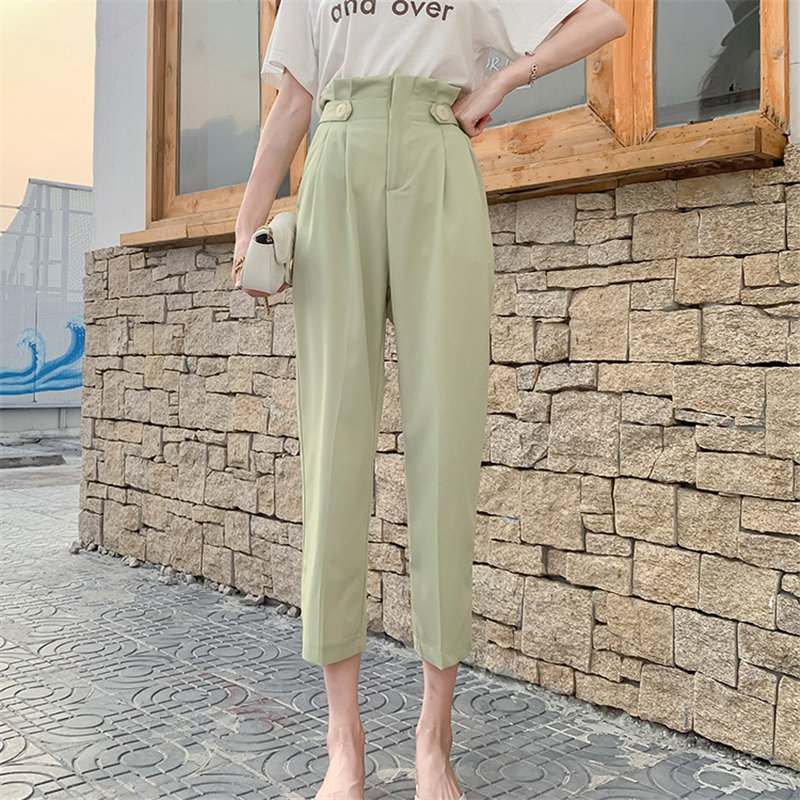 HziriP Hot Sale 2019 Fashion Texture Summer Slender Brief Casual High Bud Waist Loose Solid Women Ankle Length Pencil Pants