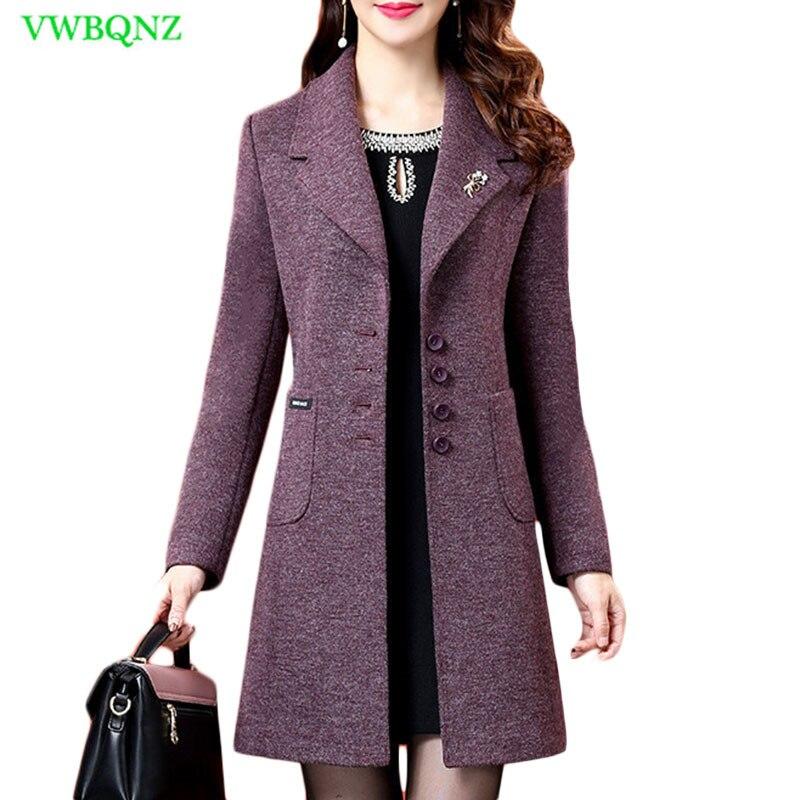 Abrigos de lana para mujer chaquetas de invierno elegantes de lana mezcla gabardina para damas talla grande púrpura cortavientos Outwear 5XL A722-in Lana y mezclas from Ropa de mujer    1