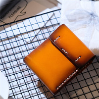 Genuine Real Leather Vintage Handmade Wallets for Men Women Cowhide Hand Made Short Wallet Purse Credit Bank Card Case Holder