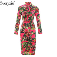 Svoryxiu High Quality Autumn Party Dress Women's Elegant Long Sleeve Bow Collar Fig Printed Red Runway Midi Dress 2019