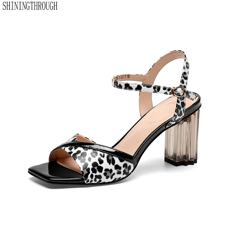 Leopard Genuine Leather women Sandals Ladies high heels shoes woman black red office ladies dress shoes womanLeopard Genuine Leather women Sandals Ladies high heels shoes woman black red office ladies dress shoes woman