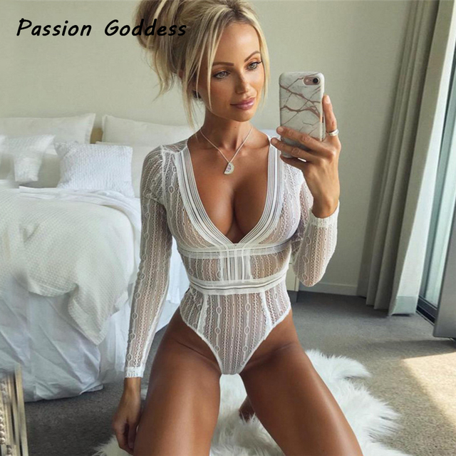 7f74b19624 Party Sexy Women Perspective White Mesh Jumpsuit Rompers Lace Up Lace  Bodysuit Rompers Deep V Transparent Overalls CatPlaysuit
