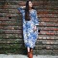 Serenamente vestidos casual dress 2017 del otoño del resorte de las mujeres vestidos de las mujeres de la vendimia impreso de manga larga suelta marca ropa maxi dress