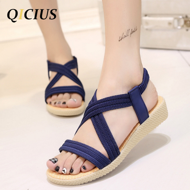 QICIUS Fashion Women Gladiator Sandals Outdoor Casual Summer Shoes Sandals Platform Shoes Cross-tied Wedge Woman Sandals B0036 rhinestone silver women sandals low heel summer shoes casual platform shiny gladiator sandal fashion casual sapato femimino hot