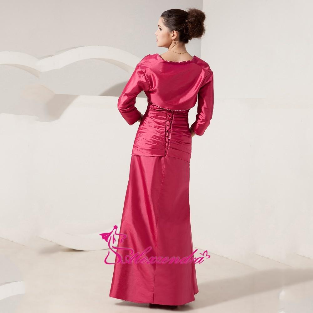 Alexzendra chérie perlée longue mère de mariée robe avec veste droite longues robes de soirée grande taille - 3