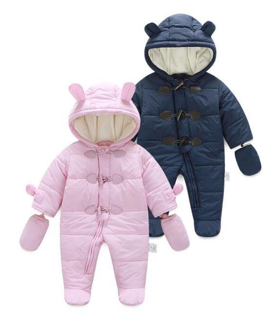Bebê meninos meninas roupas de inverno snowsuit grosso morno do inverno do bebê para baixo roupas recém-nascidos macacão menino meninas roupas KC026