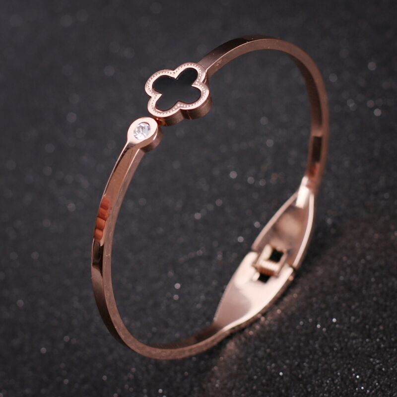 New Top Quality Brand Design Stainless Steel Four Leaves Shell Bangle Silver/Rose Gold Color Women Jewelry Cuff BangleBracelet