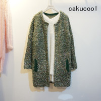 Cakucool Women Spring Gold Lurex Sweater Bling Sequined Open Stitch Loose O Neck Vintage Mid Long