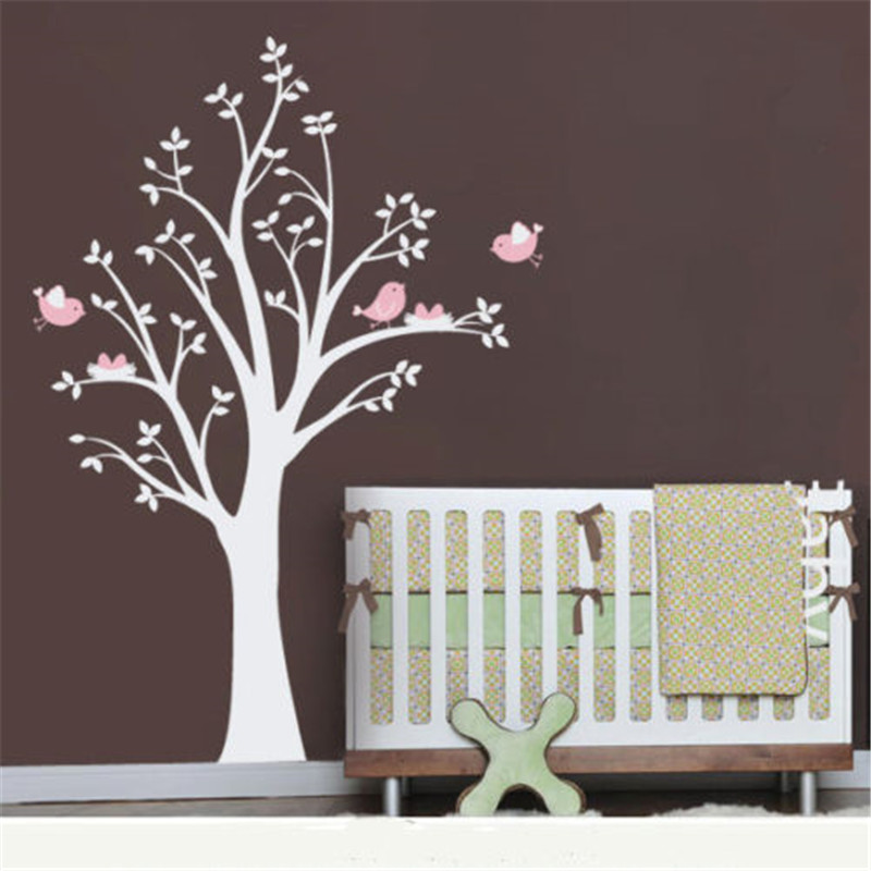 Children's Room Pink Birds White Tree 200CM High PVC Wall Vinyl - Home Decor