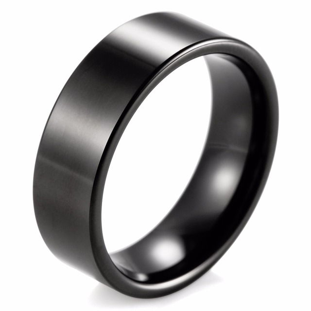 SHARDON Men's Ring 8mm Pipe Flat Black Tungsten Ring Classic Men's Black Engagement Wedding Band
