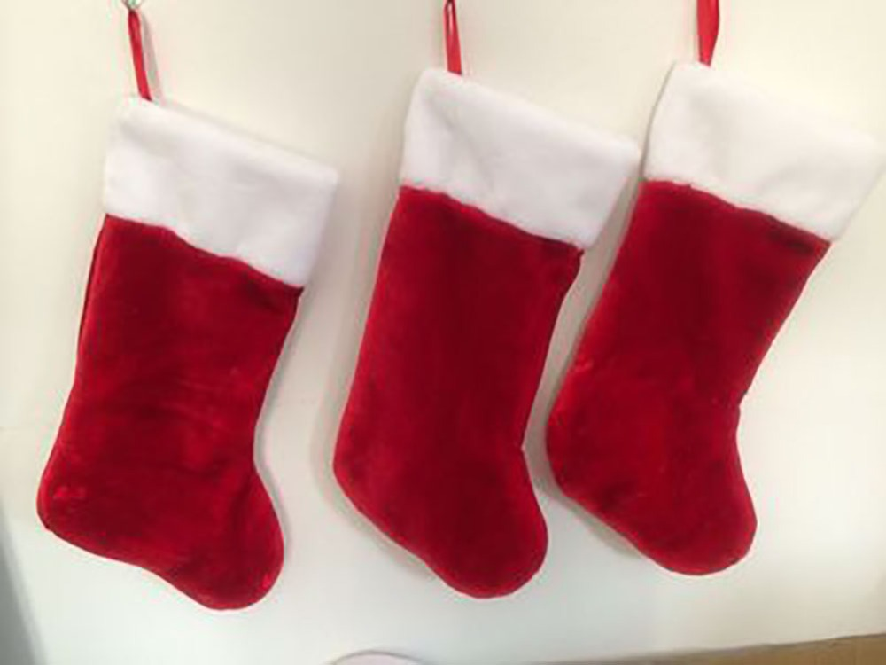 18 Plush Red Christmas Stocking Kit With White Fur Trim ...