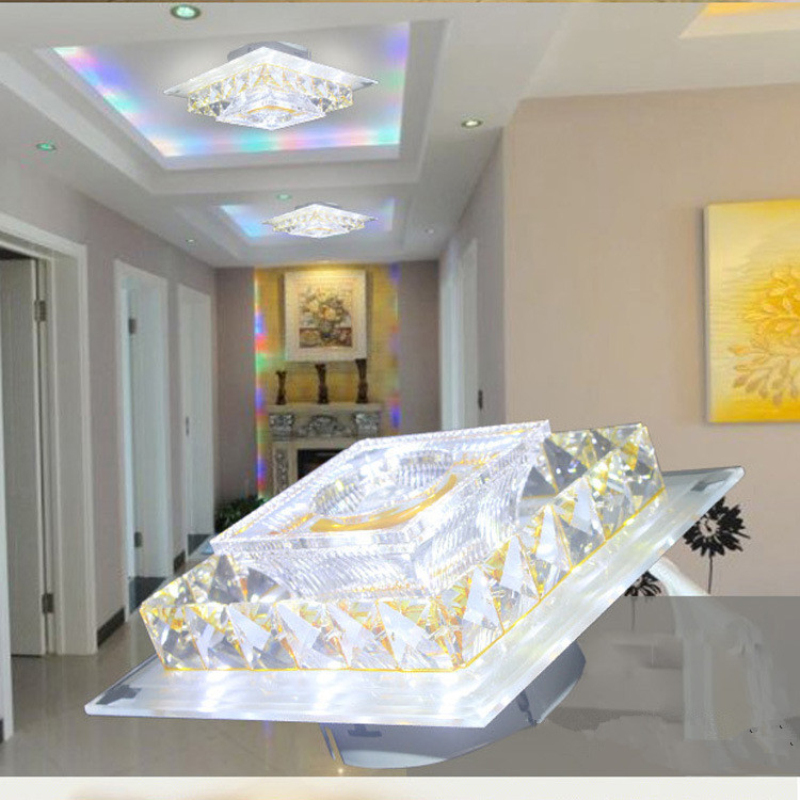 Led corridor light square corridor passes the street lamp creative led ceiling light crystal lamp for indoor bedroom study hotel