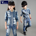 The 2016 winter hot new children cowboy suit boy girl stamp letters worn two sets of washing hole
