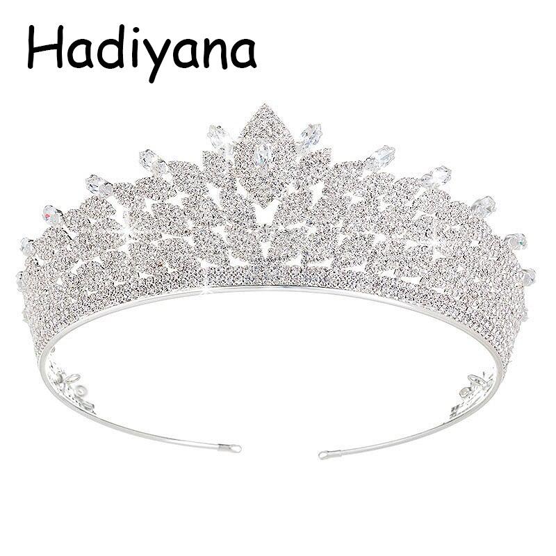 Hadiyana nouveauté princesse cheveux bijoux couronne chaude cubique Zincons diadèmes argent cuivre accessoires de mariée couronnes usine HG6003