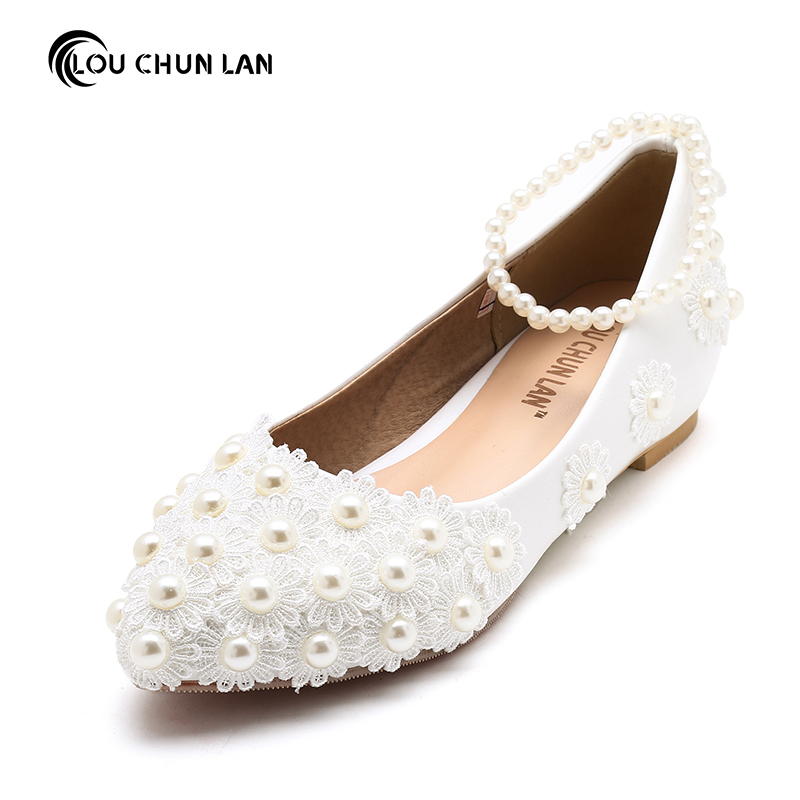 Aliexpress Buy Women Shoes Adult Flats Wedding Shoes White Bridesmaid Shoes Pearl Bangle