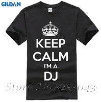 Keep Calm я диджеев забавные Для мужчин Мужская черная футболка Дискотека танец Tee