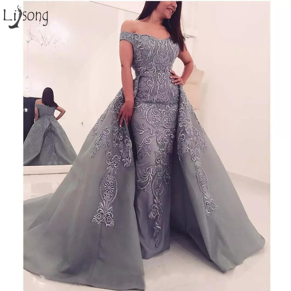 Modest Gray Embroidery 2 Pieces Evening Dresses With Detachable Train Straight Long Abiye Evening Gowns 2018