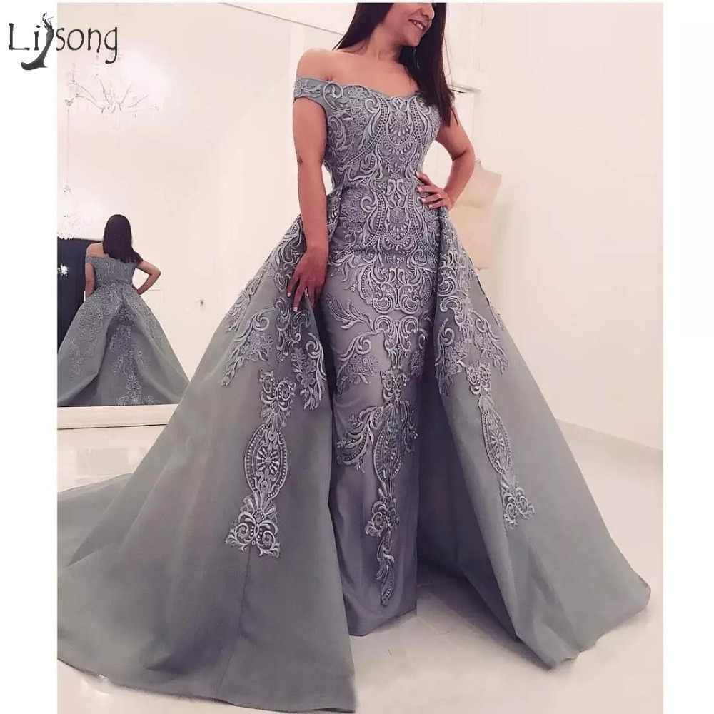 Modest Gray Embroidery 2 Pieces Evening Dresses With Detachable Train Straight Long Abiye Evening Gowns 2018 Robe De Soiree