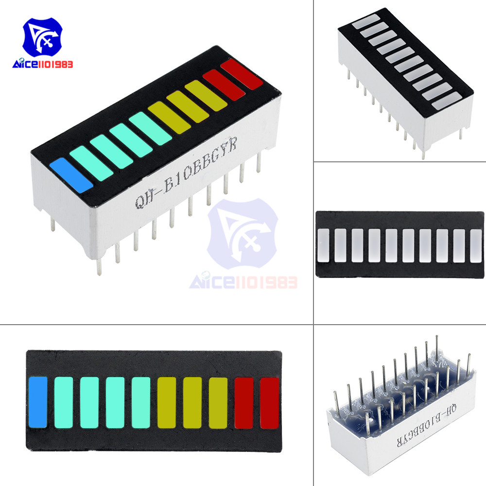 5PCS LED Display Module 10 Segment Bargraph Light Display Module Bar Graph Ultra Bright Red Yellow Green Blue 4 Color Available